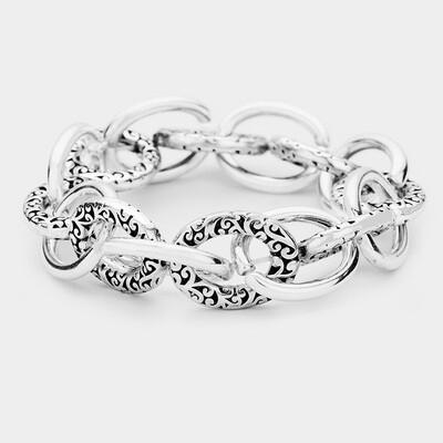 Antique Pattern Metal Chain Link Stretch Bracelet