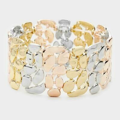 Tri Tone Irregular Shape Metal Stretch Bracelets