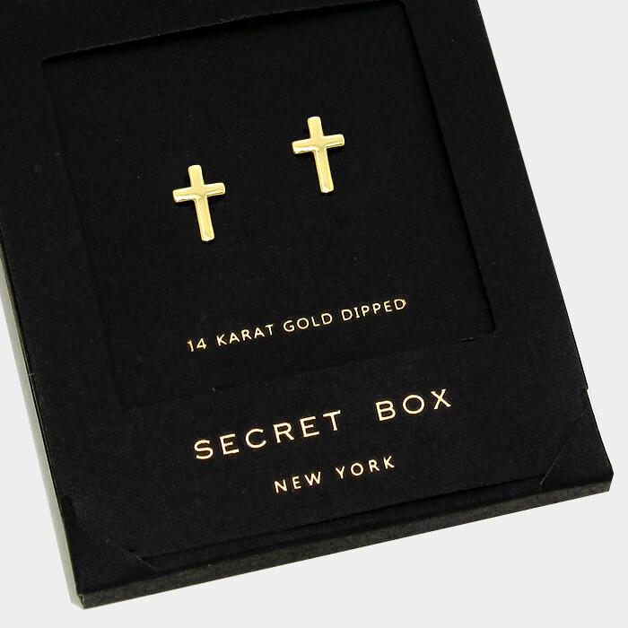 14 K Gold Dipped Cross Stud Earrings