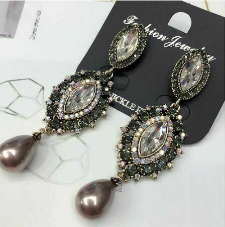Clear and AB Rhinestone Mocha Pearl Long Earrings