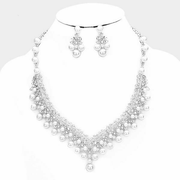 Pave Bubble Stone Pearl Cluster Evening Necklace Set