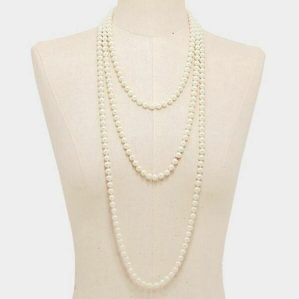 "Cream Colored 94"" Long Pearl Strand Necklace"
