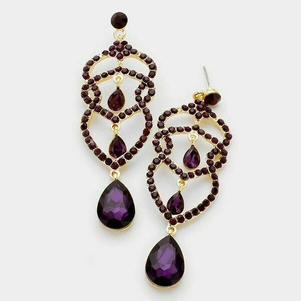 Gold and Purple Crystal Rhinestone Teardrop Dangle Earrings