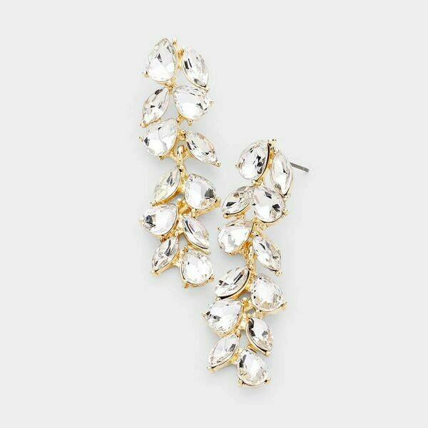Pear Marquise Crystal Vine Evening Drop Earrings