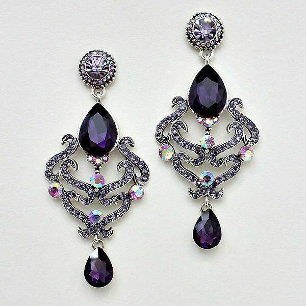 Shades of Purple Crystal Large Chandelier Earrings
