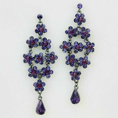 Hematite and Purple Flower Grove Chandelier Earrings