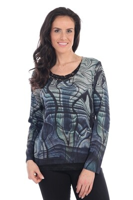 Abstract Print Top with Lace Detail