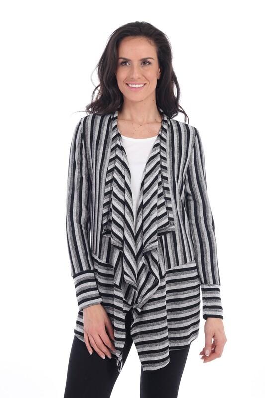 Fabulous Grey & Black Striped Cardigan