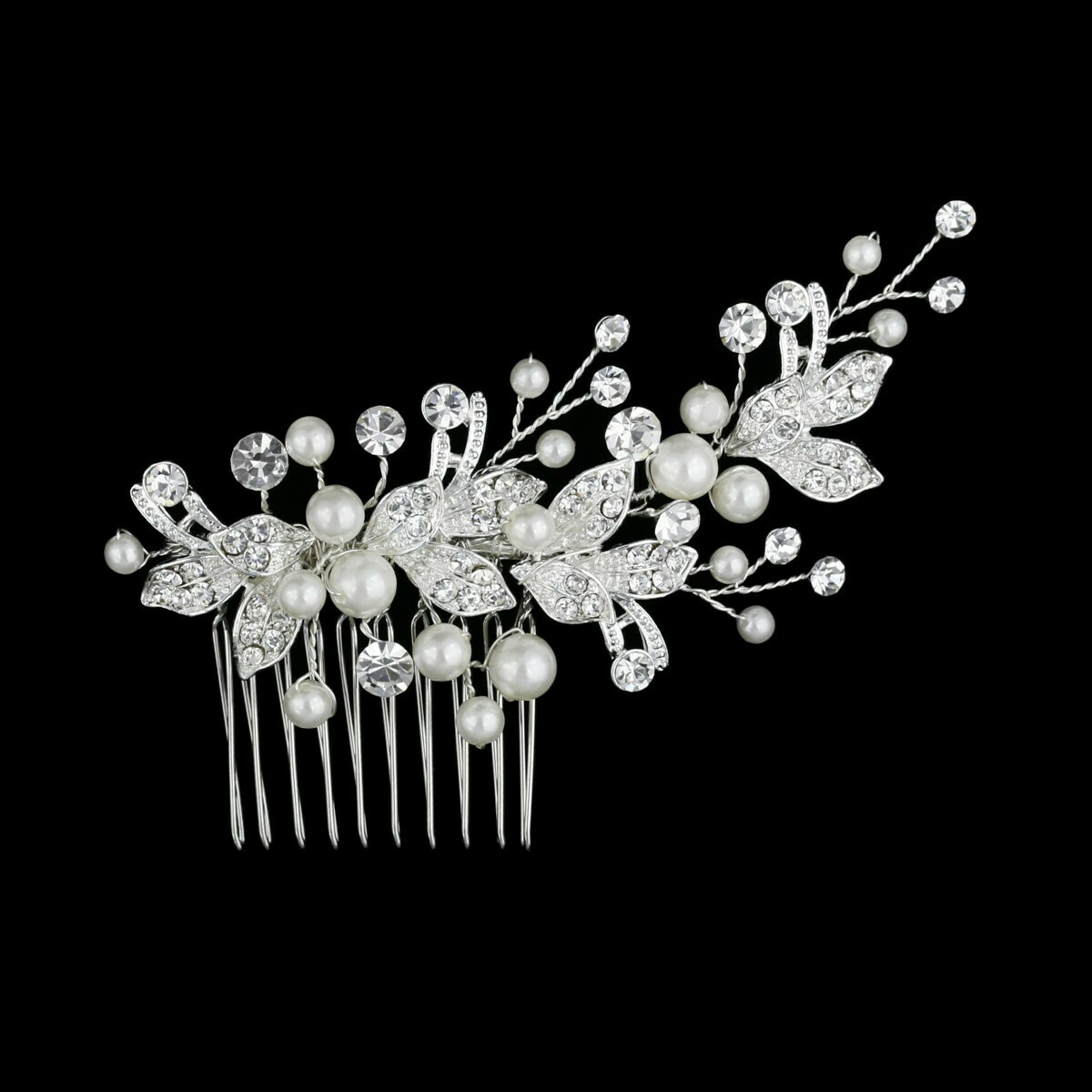 Silver Crystal Pearl Side Bridal Hair Comb