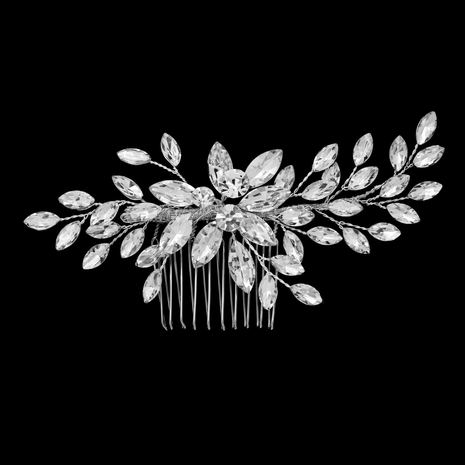 Clear Crystal Marquis Branch Bridal Hair Comb