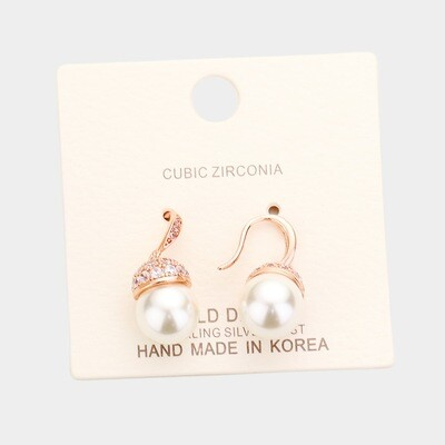 Gold dipped Cubic Zirconia Pave Pearl Earring