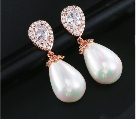 Pear Cubic Zirconia Pearl Drop Earring