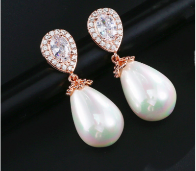 Pear Cubic Zirconia Pearl Drop Earring