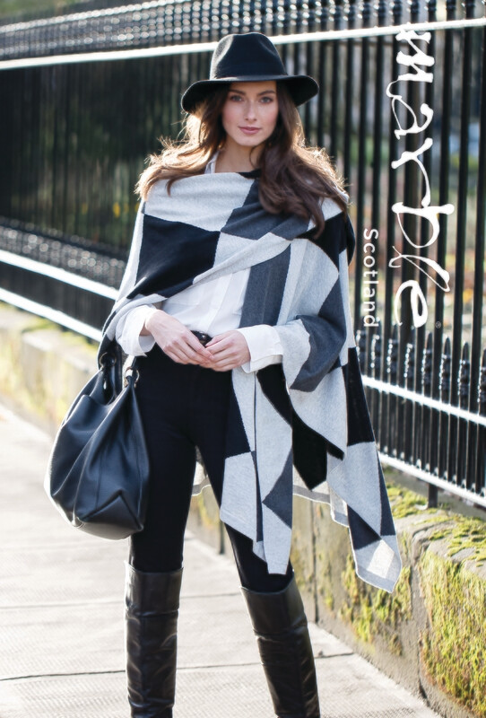 Charcoal Grey Black Color Block Wrap