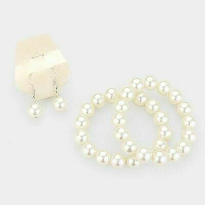 Faux Pearl Bracelet and Earring Set