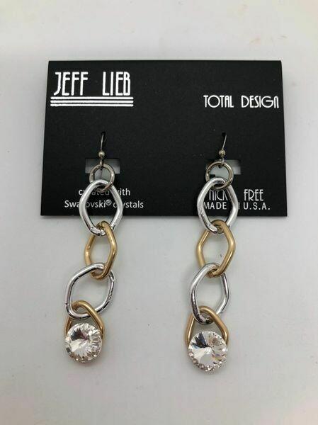 Jeff Lieb Handmade Gold and Silver Chain Drop Earrings
