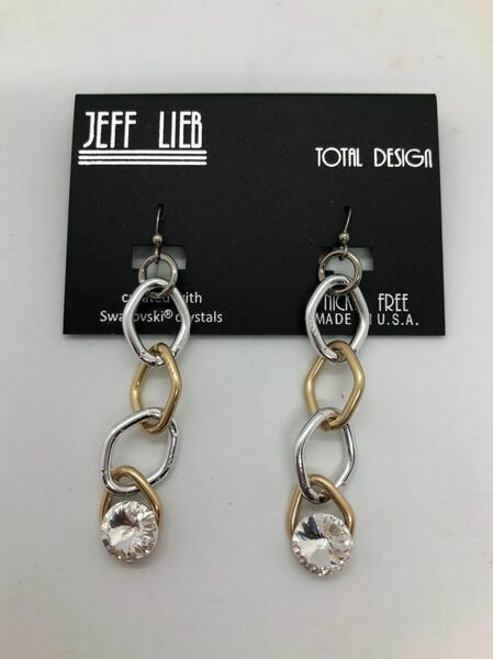 Jeff Lieb Handmade Gold and Silver Chain Drop Earrings