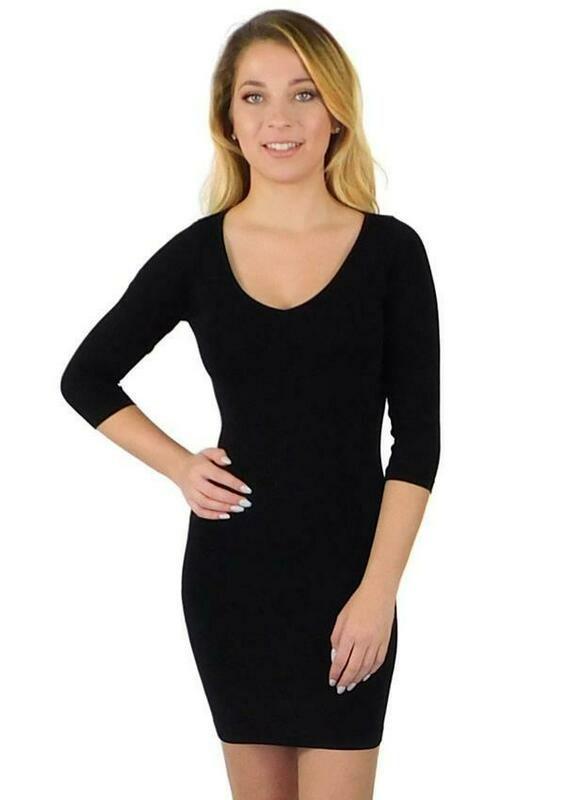 V Neck/Boat Neck 3/4 Sleeve Mini Dress
