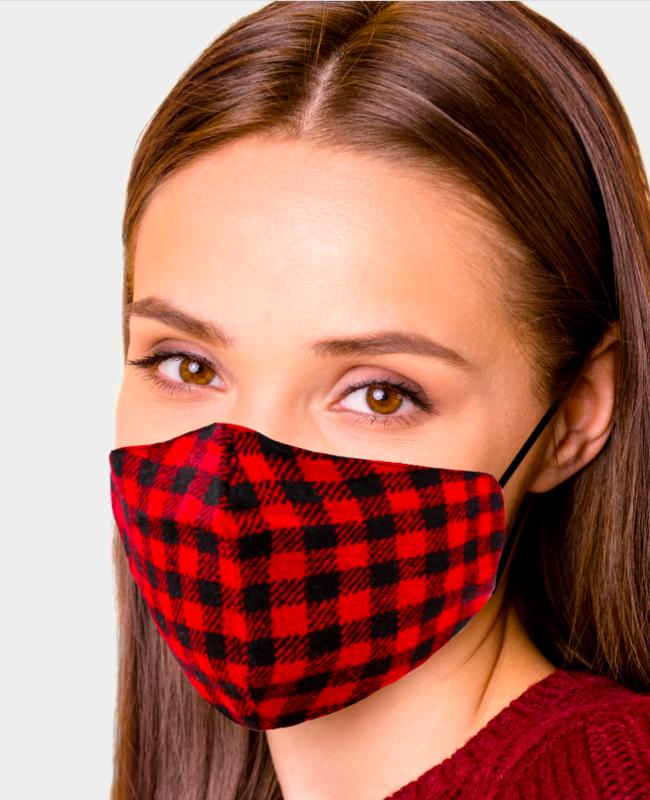 Buffalo Check Print Cotton Fashion Masks