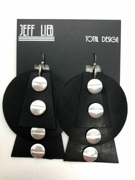 Jeff Lieb Black Rubber Silver Nail Head Earring