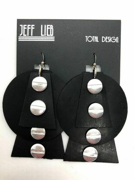 Jeff Lieb Black Rubber Silver Nail Head Earring