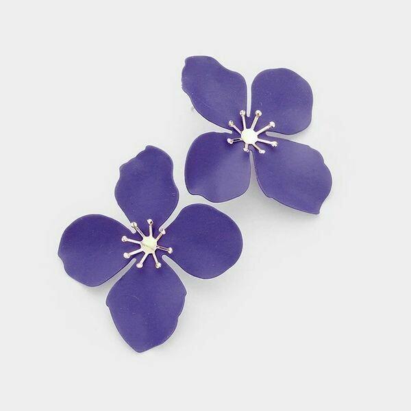 Purple and Gold Bloom Flower Earrings