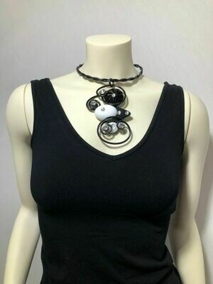 Jeff Lieb Black White Swarovski Crystal Necklace