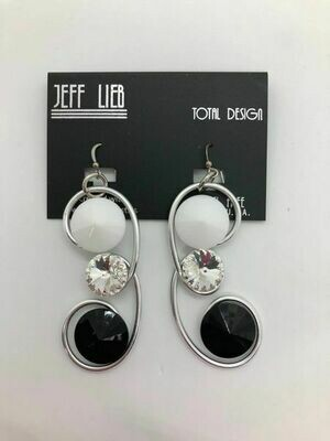 Jeff Lieb Black White Swarovski Crystal Earring