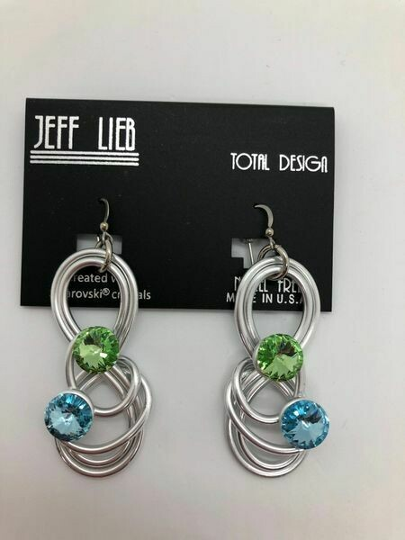 Jeff Lieb Silver Blue & Peridot Swarovski Crystal Earring