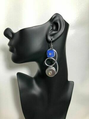 Jeff Lieb Handmade Silver Drop Earrings with Semi Precious Stones and Genuine Swarovski Crystals
