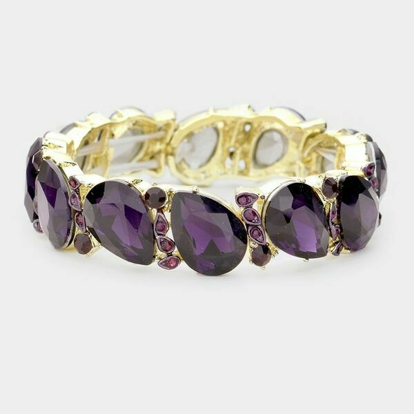 Gold with Purple Teardrop Crystal Stretch Evening Bracelet