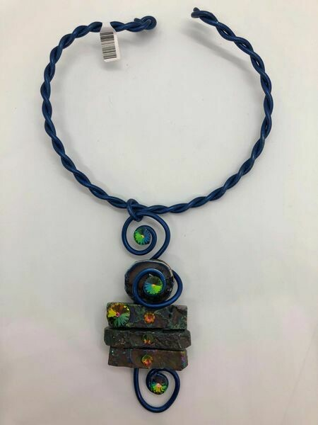Jeff Lieb Handmade Deep Royal Blue Wire with Semi Precious Stones and Real Swarovski Crystals Necklace