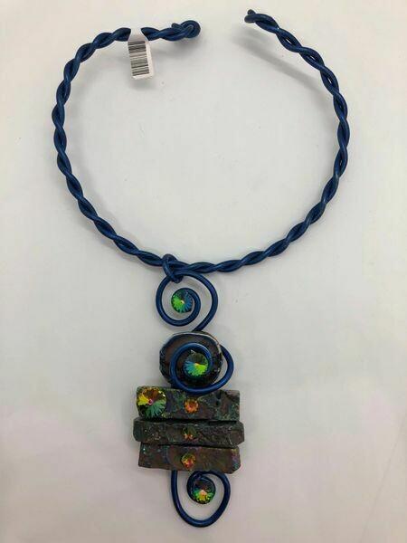 Jeff Lieb Handmade Deep Royal Blue Wire with Semi Precious Stones and Real Swarovski Crystals Necklace