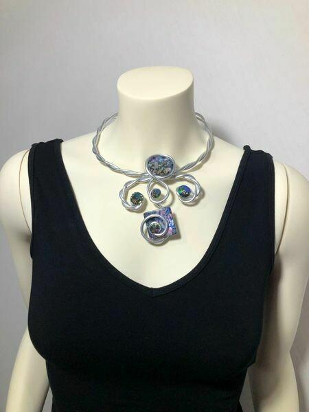Jeff Lieb Handmade Silver Metal Multi Colored Semi Precious Agate Stone with AB Swarovski Crystal Necklace