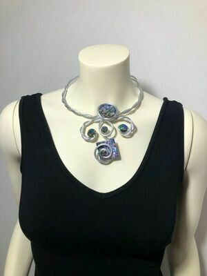 Jeff Lieb Handmade Silver Metal Multi Colored Semi Precious Agate Stone with AB Swarovski Crystal Necklace
