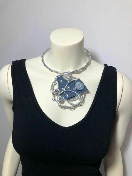 Jeff Lieb Handmade Silver Aluminum with Blue Semi Precious Stone and Clear Swarovski Crystals Necklace