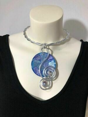 Jeff Lieb Silver Metal Clear Swarovski Multi Colored Semi Precious Stone Necklace