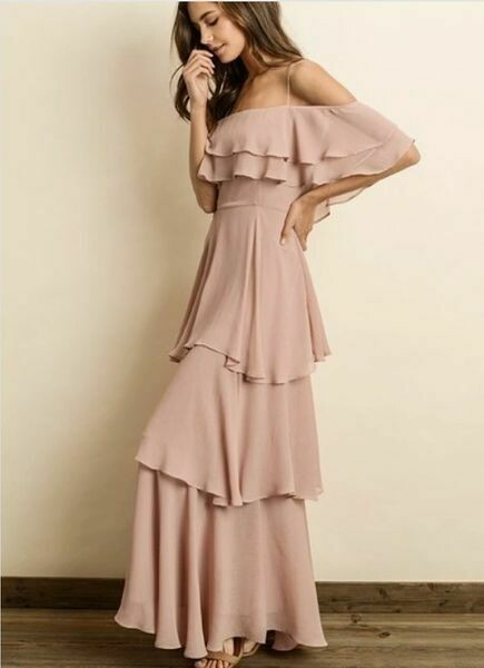 Dusty Rose Cold Shoulder Chiffon Maxi Dress