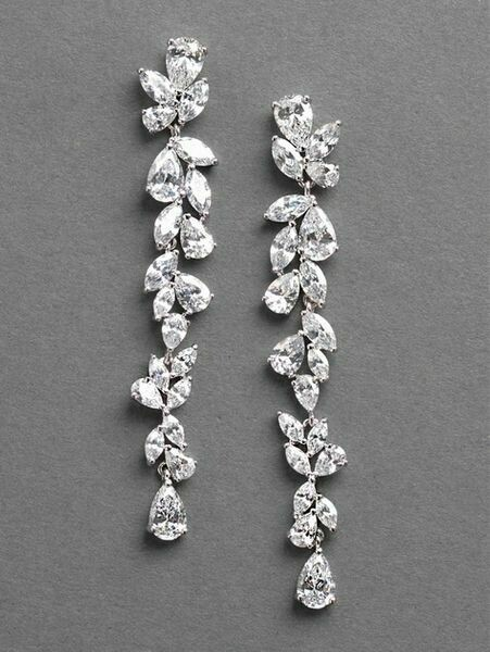 Dramatic Cluster Long Drop Cubic Zirconia Earring