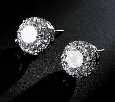 Rhodium Plated 8mm Cubic Zirconia Studs