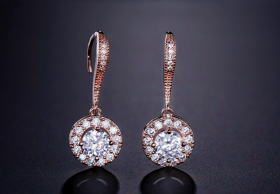 AAA Cubic Zirconia Round Halo Drop Earrings