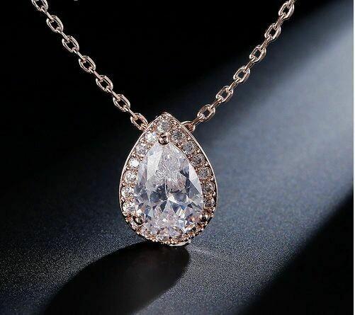 Halo Pear Cubic Zirconia Drop Necklace