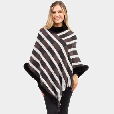 Fur Trimmed Striped Poncho