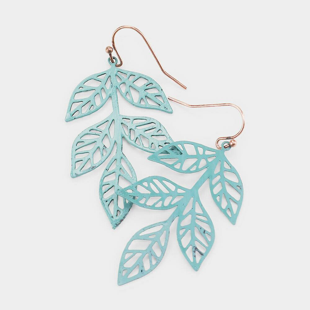 Brass Metal Cut Out Leaf Dangle Earrings
