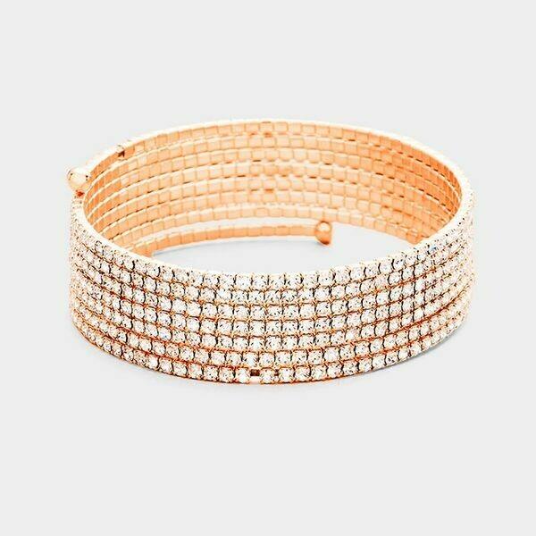 Rose Gold 7 Line Coil Bracelet