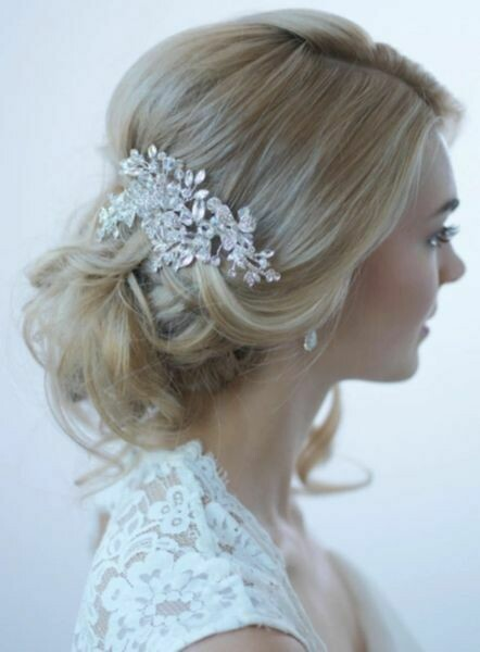 Silver Swarovski Crystal Floral Clip