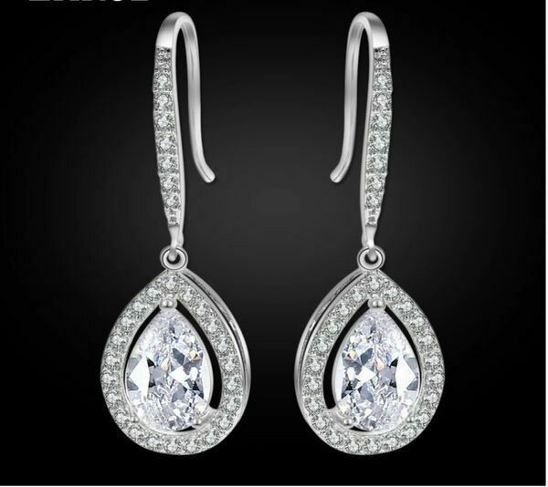 AAA Cubic Zirconia Open Halo Pear Drop Earrings