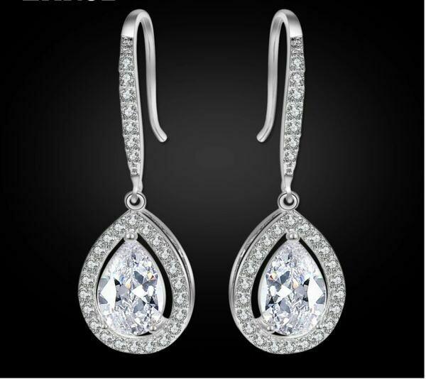 AAA Cubic Zirconia Open Halo Pear Drop Earrings