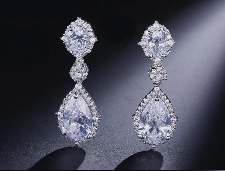 Enchanting Clear Crystal Pear Drop Earrings