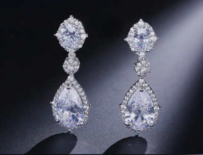 Enchanting Clear Crystal Pear Drop Earrings